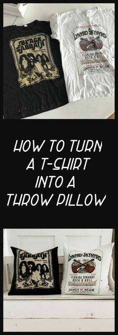 Diy Throws, Diy Throw Pillows, Sewing Pillows, How To Make Pillows, Memory Pillow From Shirt, Memory Pillows, T Shirt Pillow, Old Shirts, Rock T Shirts