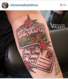 Postcard tattoo by Chloe O'Malley Possibly this with a Canada picture from m&d Or lighthouse w/ sinking ship and waves lyrics in Nans handwriting