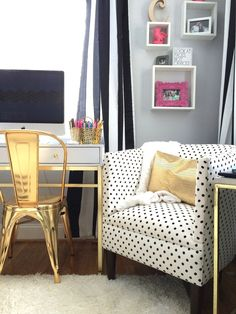 What's Black, White and Chic all over? A teen bedroom makeover in black and white stripes, polka dots and accents of gold. Create this sophisticated look with bedding, accessories and furniture from HomeGoods. Sponsored Happy By Design Post.