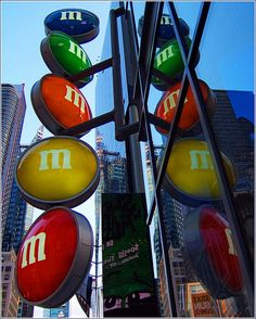 M & M's Candy Store Lighted Sign.  One day I will get there. Outside signage idea