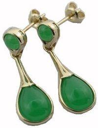 #Jewelry #Earrings Green Jade Lady Drop Earrings 14k Gold