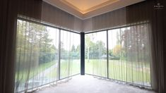 Luxurious Master's Bedroom with Blackout Blinds and Curtains in sliding doors and window. Blinds and side channels are concealed when not in use to create a completely contemporary look Bedroom Ideas videos Blackout Blinds + Recessed Curtain Tracks