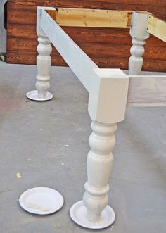 Old World Chippy Distressed Paint Finish | Ana White like the chunky table legs
