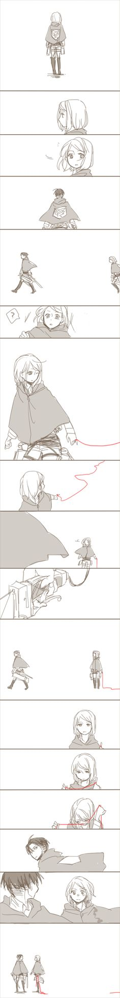 Pure perfection. Her red string was going to someone else, but she cut it to be with Levi. Omg I'm gonna die this is so amazing seriously someone help