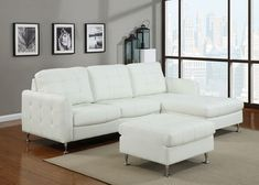 2 pc Amanda White bonded leather sectional sofa with tufted seat and back $600