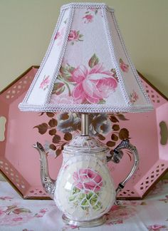 Broken China Mosaic And Old Tea Pot Reinvented Into A Lovely Lamp