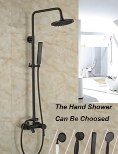 """Wholesale And Retail Wall Mounted 8"""" Round Rain Shower Head Faucet Valve Mixer Tap W/ Hand Shower Tub Spout Mixer Tap"""