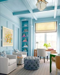 This shade of blue is so vibrant and sun-shiny! This would never get old! Agree??? Repost From: @chairishco Project By: @marybethwagnerinteriors 📸: @nathanschroderphoto  #thevibrantinterior #andreaschumacherinteriordesigner #denverinteriordesigner #santabarbarainteriordesigner #palmbeachinteriordesigner Interior Styling, Interior Decorating, Interior Design, Southwestern Home, Cool Office Space, Built Ins, Home And Living, Living Rooms, Shades Of Blue