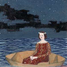 she hoped for something to finally break the silence - print of original oil painting