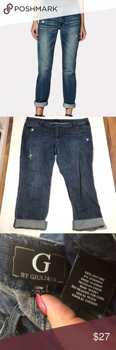 Giuliana Sz 20W Boyfriend Rolled Cuff Blue Jeans This pair of super cute jeans is up for sale! Great condition! ❤ Stretchy Cotton Blend, destructed ❤ cropped/boyfriend style with rolled cuff ❤️ Comfy and trendy style ❤ Size Measured in Pictures 🔍📏  ✅ Bundle up items and save 💲✅  ❤️ I love reasonable offers. ❤️ 🎉 Pair w/jewelry, acc. or shoes🎉 🆕 New items every week! 🆕  I'm a mama on a mission. I sell items online to support my 2 sons. Every purchase is important to us. G by Giuliana…