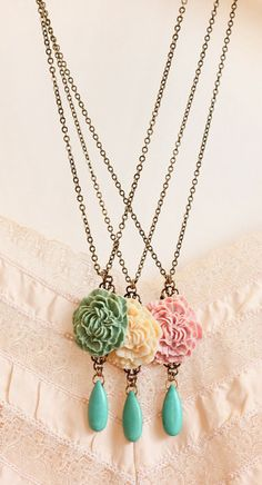 Statement Necklace Flower Necklace Bridesmaids