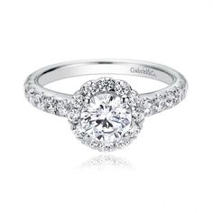 Contemporary Halo Engagement Ring by Gabriel & Co. $2,355.