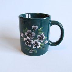 Floral Coffee Mug Green Handpainted by JasminesTreasuresLLC, $13.50