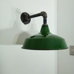 Vintage Green Enamel Barn Sconce Upcycled Steampunk / Industrial Style Wall Light on Etsy, $225.00