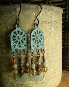 Roman Glass Mykonos Arch Earrings by Gloria Ewing