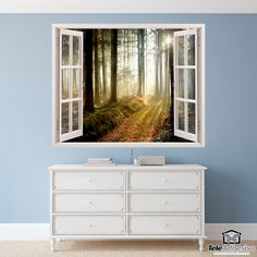 Wall Stickers Trees in the forest Felt Wreath, Window Art, Wall Stickers, Windows, Doors, Drawing, Painting, Ideal House, Wall Stickers Tree