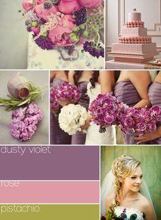 violet, rose and pistachio