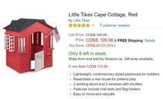 Amazon.ca Offers: Save 35% On Little Tikes Cape Cottage Red For $109.96 http://www.lavahotdeals.com/ca/cheap/amazon-offers-save-35-tikes-cape-cottage-red/116542