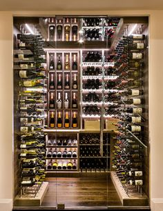 Transitional Modern Custom Wine Cellar by Papro Consulting C.- Transitional Modern Custom Wine Cellar by Papro Consulting Cable Wine System 4 Transitional Modern Custom Wine Cellar by Papro Consulting Cable Wine System 4 - Cave A Vin Design, Home Wine Cellars, Wine Cellar Design, Wine Cellar Modern, Modern Wine Rack, Wine House, Wine Display, Wine Wall, Wine Cabinets