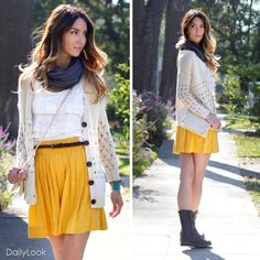 love this so much. i love the skirt and the cardigan