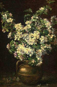 Alexis Kreyder  Christmas Roses in a Brass Jug  19th century