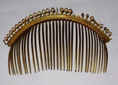 ANTIQUE FRENCH REGENCY GEORGIAN COMBS TIARA MOTHER OF PEARL 1800'S CROWN SILVER