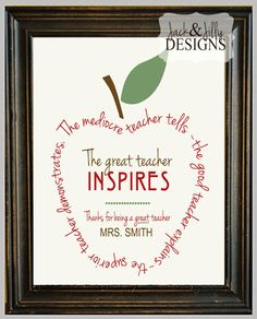 TEACHER GIFT - Personalized Great Teachers Inspire 8x10 Print - You Choose the Colours via Etsy