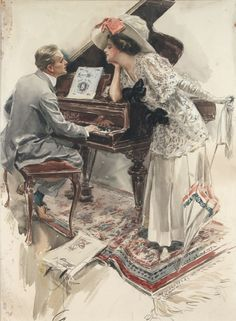 A Concert for Two ~ Harrison Fisher, ca. 1910s.