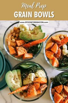 This recipe for easy make ahead, meal prepped grain bowls is a great way to use up those extra vegetables you have. The recipe is designed to be super flexible so you can easily alter it to fit your taste! | healthy dinner recipes | dinner ideas | lunch ideas | healthy snacks | healthy meal prep | vegetarian recipes | Vegetarian Side Dishes, Vegetarian Meal Prep, Best Vegetarian Recipes, Healthy Meal Prep, Veggie Dishes, Healthy Eats, Whole Food Recipes, Healthy Snacks, Healthy Recipes