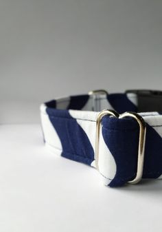 Blue and White Dog Collar Handmade by UptownPetwear on Etsy