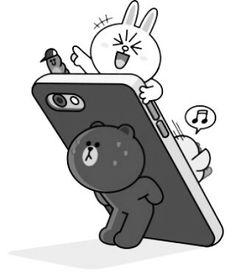 Line Cony, Cony Brown, Bunny And Bear, Cute Love Cartoons, Line Friends, Together Forever, Cartoon Design, Line Sticker, Cute Cards