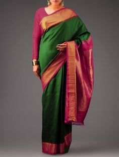 Green-Pink Kanchipuram Silk Saree