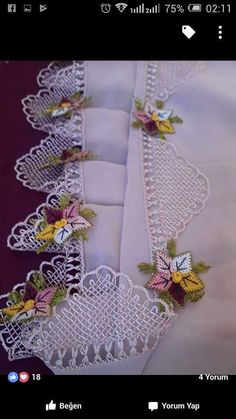 Lacemaking, Silk Ribbon Embroidery, Tatting, Needlework, Tassels, Diy And Crafts, Crafty, Dish Towels, Embroidered Flowers
