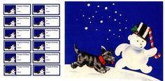 Vintage Christmas Card Images On CD Scottie Dog And Snowman Gift Tag Set