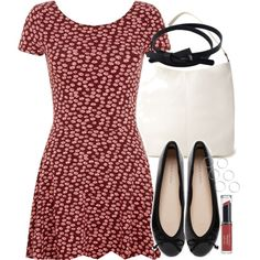 Lydia Inspired Outfit with Black Flats by veterization on Polyvore featuring мода, Forever 21, Revlon, women's clothing, women's fashion, women, female, woman, misses and juniors