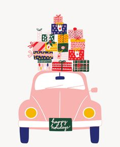 Holiday VW beetle with presents illustration