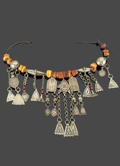 Morocco | Necklace; silver, silver with niello, and amber | Sold ~ (May '15)