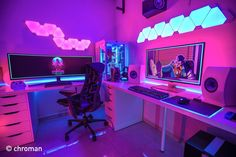 Ultimate Gaming/Home-Theater Battle Room 2018 - p. - Tracy -My Ultimate Gaming/Home-Theater Battle Room 2018 - p. - Tracy - Lighting is Key Modern DIY computer desk ideas, small home office gaming organization Best Trending Gaming Setup Ideas Best Gaming Setup, Gamer Setup, Gaming Room Setup, Pc Setup, Ultimate Gaming Setup, Office Setup, Office Workspace, Computer Gaming Room, Computer Desk Setup