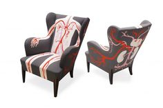 Art Nectar | French Design House AK-LH Graphic Spin on 1950′s Scandinavian Style Wing Back Chairs | http://artnectar.com