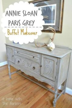 Annie Sloan Chalk Paint Paris Grey Buffet Table Makeover by shelby
