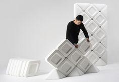 Acoustische scheidingswand van gerecycled PET van Arihiro Miyake