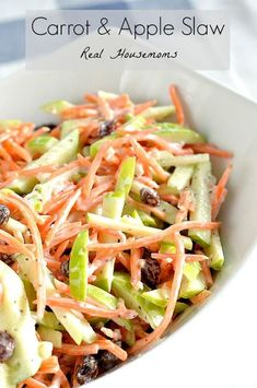 Carrot and Apple Slaw | Real Housemoms | This is the perfect side for any summer picnic or BBQ!