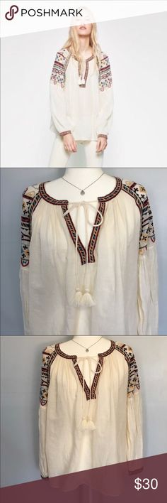 Zara Embroidered Peasant Top Blouse Size XS This Trafaluc Line Peasant Top Blouse is beautiful. It has a gorgeous Egyptian style embroidery flowing from the shoulders to the top of the arms and trim around the collar and down the V-Neck. Semi- sheer but very flowy, comfortable, boho chic. Great preloved condition. Size xs but imo would fit a small. Zara Tops
