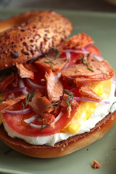 Smoked Salmon Breakfast Bagel - www.countrycleaver.com