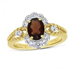 Viola, Oval-cut Garnet & White Topaz Ring in Sterling Silver Yellow Plated