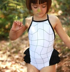 grid ruffle swimsuit
