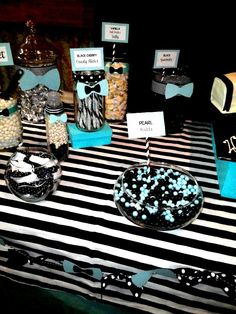 Bow ties and Bottles themed candy buffet #tiffany blue #black #baby shower