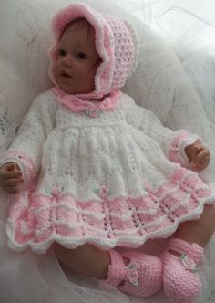 Free Knitting Pattern for Scalloped Baby Dress, Bonnet & Booties - This lace dress set fits 0-3 Months Baby or a Lifesize Reborn Doll 20/22in