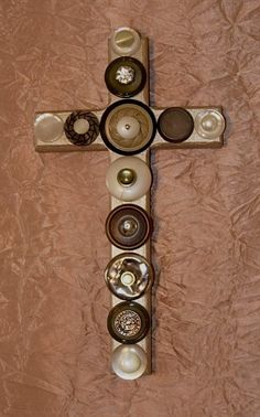 vintage button wall cross