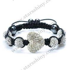 Shamballa Bracelet, 13*15mm heart clay clear rhinestone beads, adjustable. Sold individually